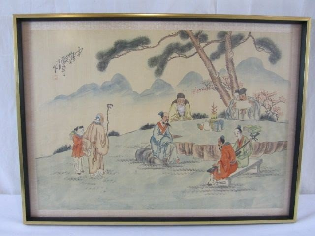 """17: C55-12 CHINESE PAINTING ON SILK """"8 IMMORTALS"""""""