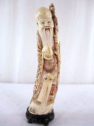 167: A23-32 CHINESE CARVED IVORY GOD OF LONGEVITY