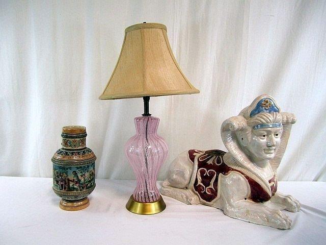12: D51-9  CERAMIC SPHINX, LAMP & STEIN