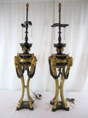 618: A46-8  PAIR OF BRONZE LAMPS WITH RAMS HEADS