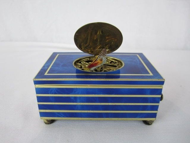 713C: C83-3  ENAMEL OVER BRASS MUSIC BOX WITH KEY