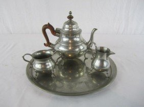 1: C80-9  PEWTER TEA SET WITH TRAY