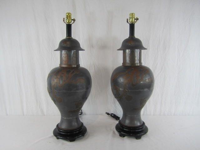 2: C80-2  PAIR OF ORIENTAL PEWTER LAMPS