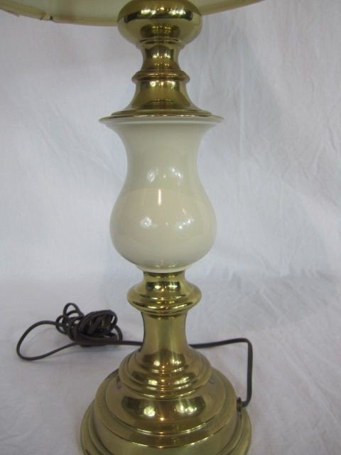 4: C80-17  BRASS & MARBLE TABLE LAMP - 2