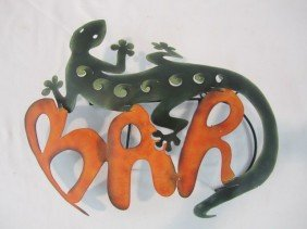 8: C93-51  PAINTED METAL LIZARD BAR SIGN