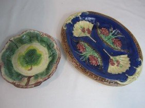 C93-60  TWO MAJOLICA PLATES
