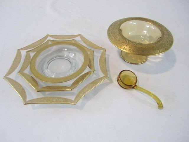 14: C93-25  GOLD TRIMMED DISH, LADLE & 3 PLATES