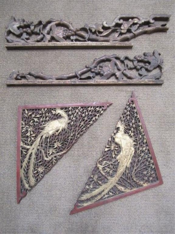 19: C93-43  BOX LOT OF 4 CHINESE DECORATIVE CARVINGS