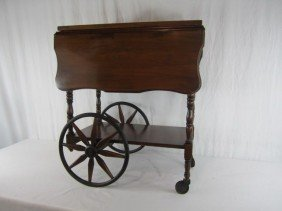 362: C80-1  MAHOGANY DROP LEAF TEA CART