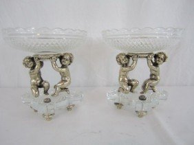 A46-37  BACCARAT BRONZE & CRYSTAL CANDY DISH