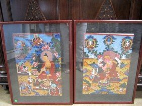 D26-2  PAIR OF GUACHE TIBET PAINTINGS ON PAPER