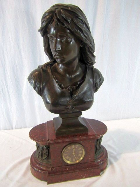 174: A41-11  BRONZE & ROUGE MARBLE CLOCK