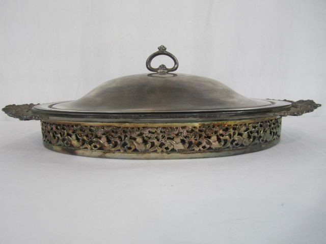 520: D64-1  GORHAM SILVER PLATE COVERED SERVING DISH