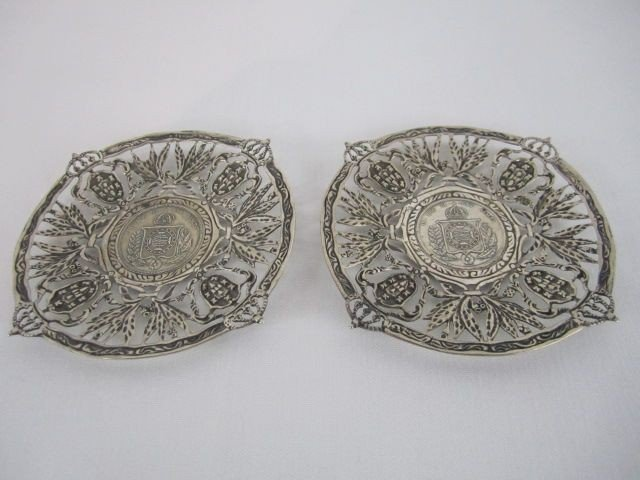 523: A63-1  LOT OF 2 BRAZILIAN 900 SILVER TIP TRAYS