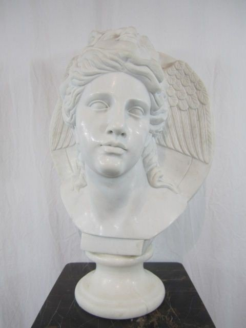 24: A4-24  TWO FACED WHITE MARBLE BUST