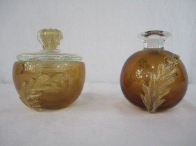 513: A44-152  PAIR OF MURANO DRESSER JARS