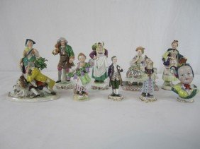 515: A44-147  LOT OF 10 ANTIQUE DRESDEN FIGURINES