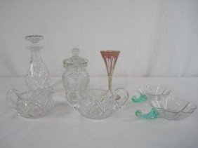 A44-145  LOT OF 7 ASSORTED CUT GLASS ITEMS