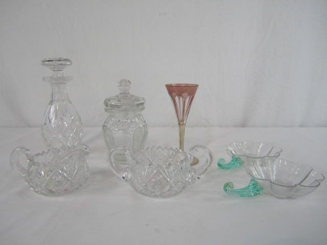 517: A44-145  LOT OF 7 ASSORTED CUT GLASS ITEMS