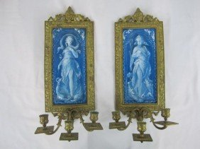 521: A44-141  PAIR OF BRONZE & TILE WALL SCONCES