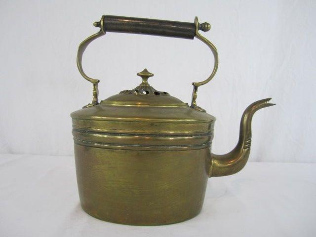 523: A44-139  EARLY BRASS TEA KETTLE