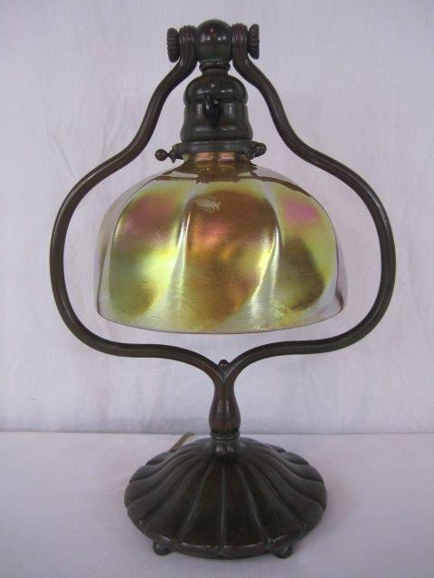 551: A44-2  RARE SIGNED TIFFANY STUDIOS HARP LAMP