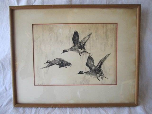 """53: D70-23  SIGNED """"W.C.D."""" ETCHING"""