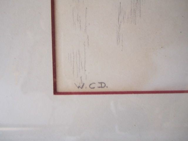 """53: D70-23  SIGNED """"W.C.D."""" ETCHING - 2"""