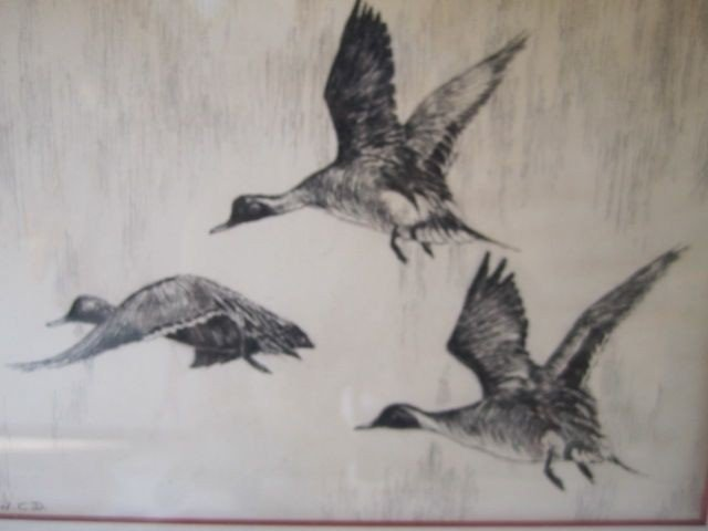 """53: D70-23  SIGNED """"W.C.D."""" ETCHING - 4"""
