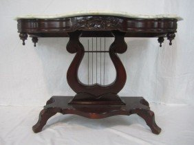 C11-9  HARP CONSOLE TABLE WITH MARBLE TOP