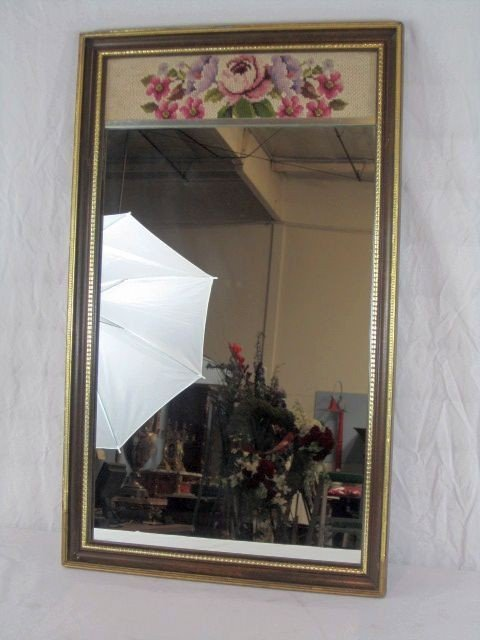 236: C80-5  MIRROR WITH NEEDLE POINT TOP