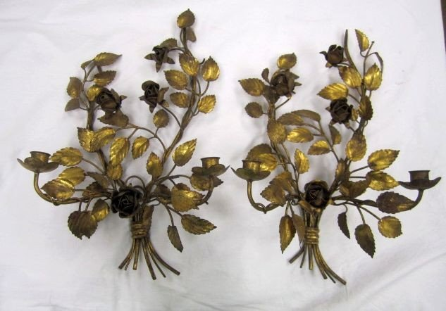 66: C78-1  PAIR OF GILT WALL CANDLE HOLDERS