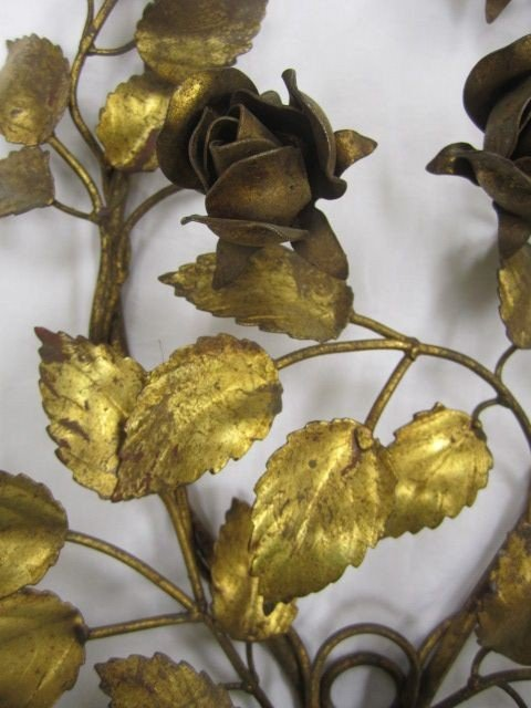 66: C78-1  PAIR OF GILT WALL CANDLE HOLDERS - 3