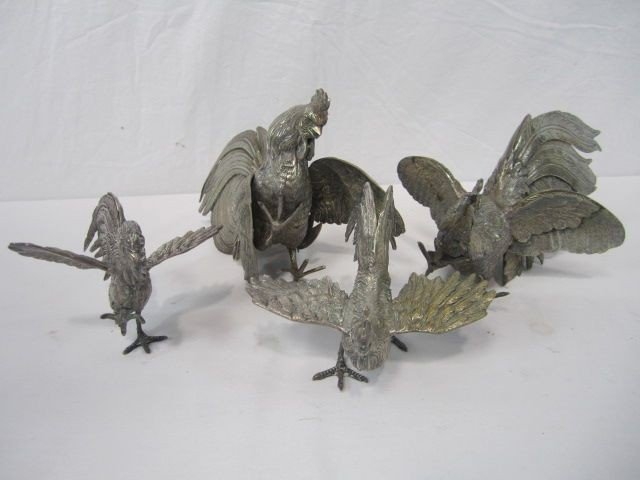 525: F14-17  LOT OF 4 SILVER ROOSTERS