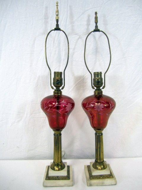 527: F14-19  PAIR OF CRANBERRY GLASS LUSTER LAMPS