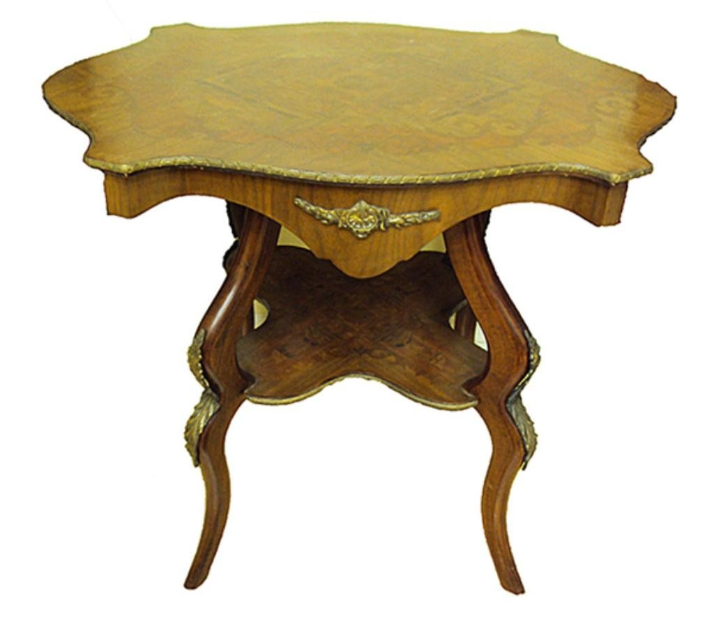 55: F60-307  MARQUETRY INLAID BOULLE DESIGN SIDE TABLE