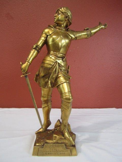 48: A45-8  GILT METAL JOAN OF ARC STATUE