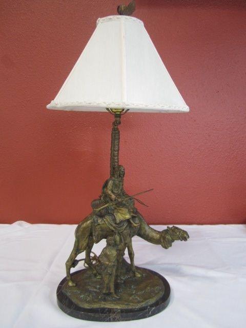 50: A45-10  AUSTRIAN BRONZE ARAB ON CAMEL LAMP