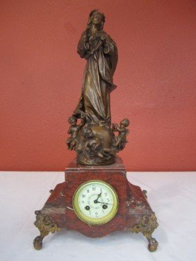 F24-19  RED ROUGE MARBLE CLOCK