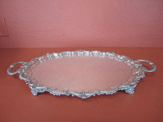 5I: C80-9  SILVER PLATE FOOTED SERVING TRAY