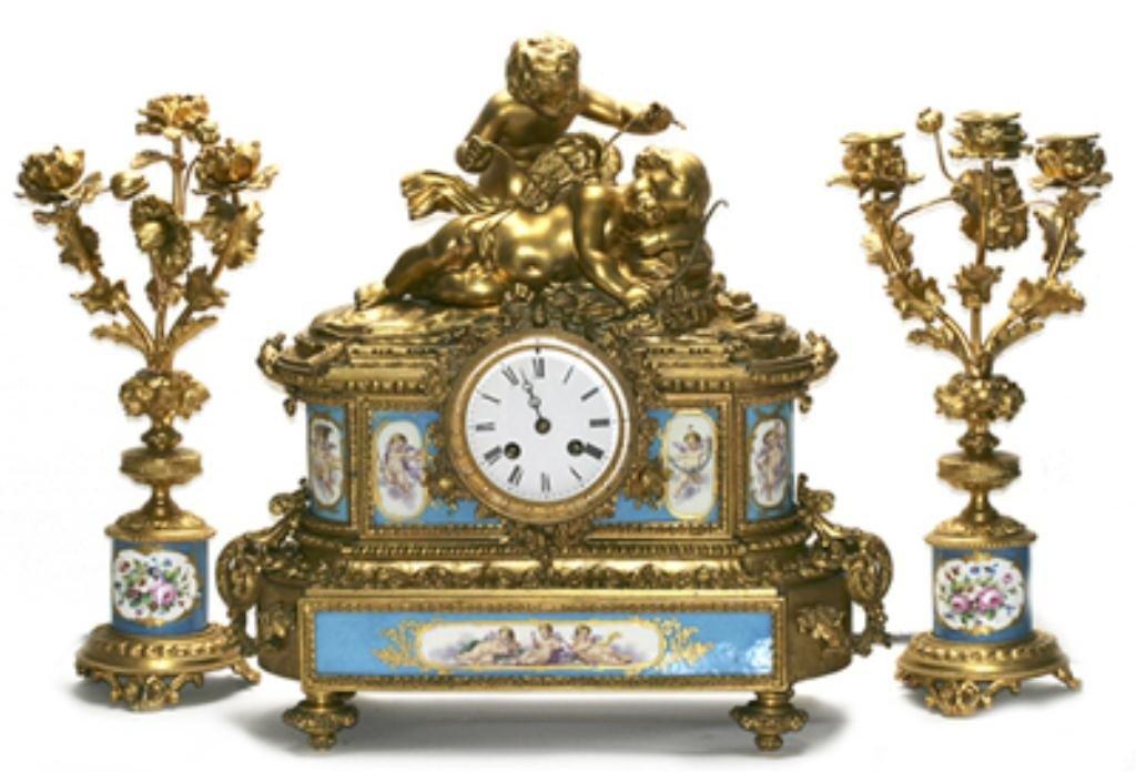 637: F60-23  GILT BRONZE & SEVRES PORCELAIN CLOCK SET