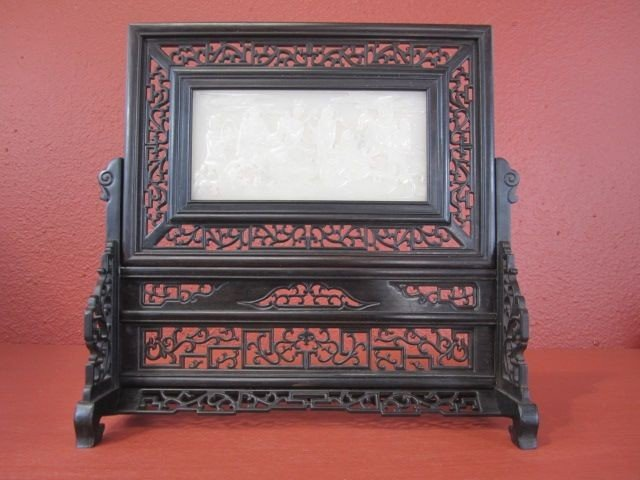 503: D56-17  CHINESE TABLE SCREEN WITH WHITE JADE