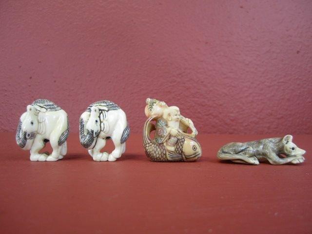 521: F27-4  LOT OF 4 HIPPO IVORY NETSUKES