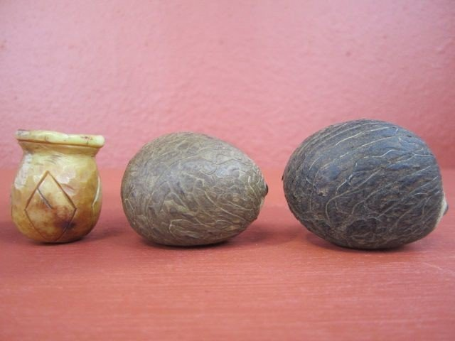 650: F27-26  LOT OF 4 IVORY CARVINGS & 2 TAGA NUTS - 3