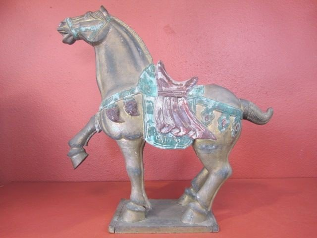 1: D34-1  HAND CARVED WOOD HORSE STATUE