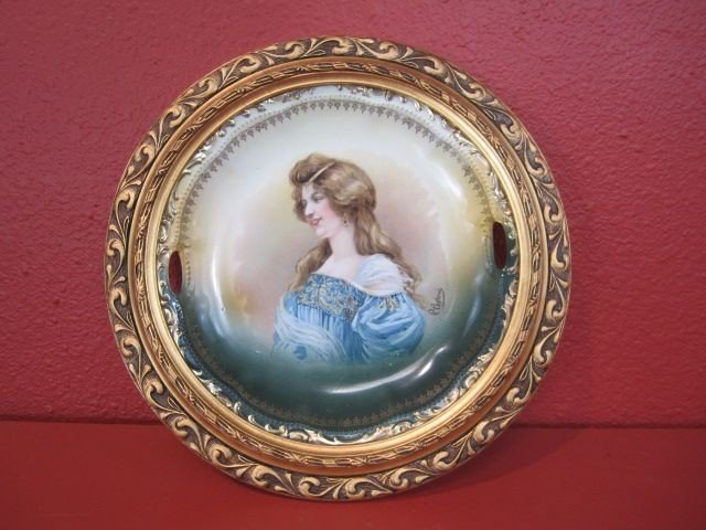 3: D34-3  HAND PAINTED FRAMED PLATE