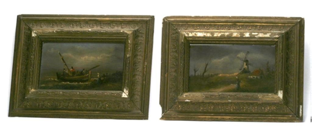 123A: F60-226  PAIR OF DUTCH OIL ON BOARDS