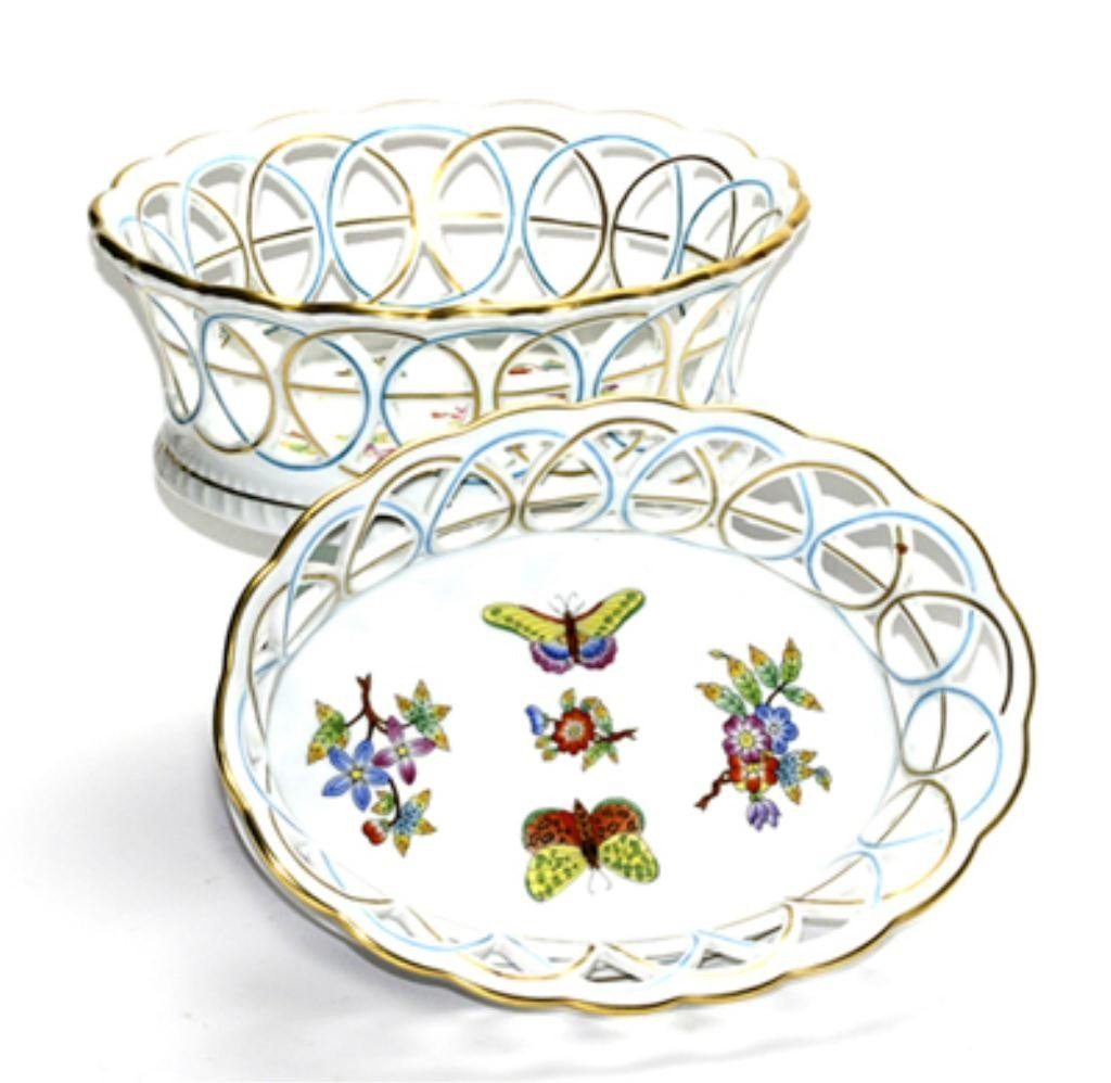 123C: F60-232  SET OF 2 HEREND BASKET WEAVE DISHES