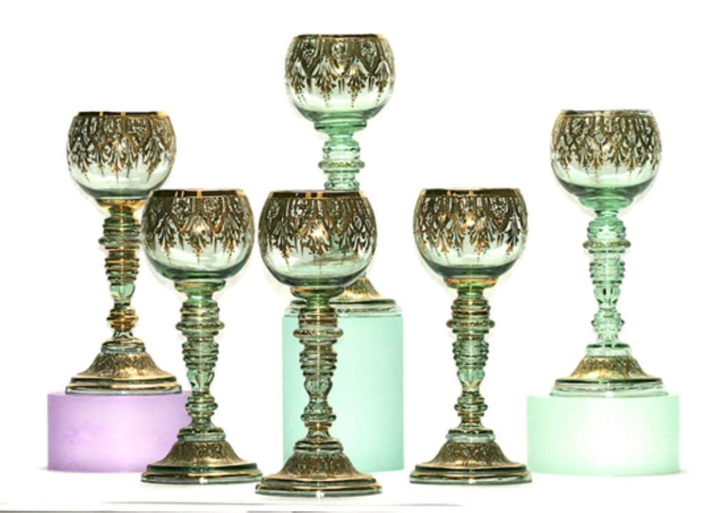 123J: F60-245  SET OF 6 GREEN MOSER WINE GLASSES