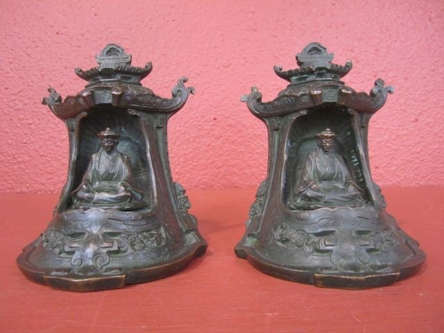502: A9-2  ANTIQUE PAIR OF CHINESE BRONZE BOOKENDS